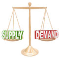 Supply and demand balance scale economics principles law words on a gold or to illustrate the principle of a free market economy Royalty Free Stock Images