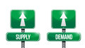 Supply and demand road sign illustrations design over white Royalty Free Stock Photos