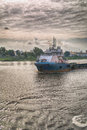 Supply vessel in the harbour of abidjan in west arica Royalty Free Stock Image