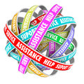 Support assistance help support endless cycle always available and words on an of ribbons or roads in a d pattern Stock Images