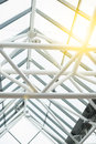 Support beams in roof abstract metal Royalty Free Stock Image