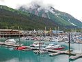 Support Benson de port de petit bateau de l'Alaska Seward Photos stock