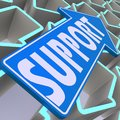 Support blue arrow image with hi res rendered artwork that could be used for any graphic design Stock Image