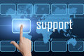 Support concept with interface and world map on blue background Royalty Free Stock Images