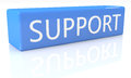 Support d render blue box with text on it on white background with reflection Stock Images