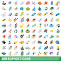 100 support icons set, isometric 3d style