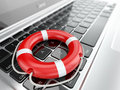 Support laptop and life preserver for first help d Stock Photography