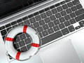 Support laptop and life preserver for first help d Stock Photo