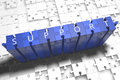 Support puzzle d render illustration with block letters on blue jigsaw pieces Royalty Free Stock Photo
