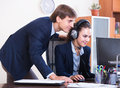 Support team working in call centre positive customer Royalty Free Stock Photography