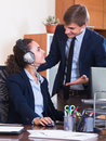 Support team working in call centre positive employees of customer Royalty Free Stock Images