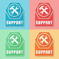 Support with tools sign four colors web icons and symbol flat design business service concept Stock Photography