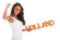 Supporter cheering for holland black woman the dutch team isolated over white background Stock Image