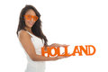 Supporter for holland black woman the dutch team isolated over white background Stock Image