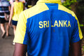 A supporter of the Sri Lankan cricket team wears a jersey with h Royalty Free Stock Photo