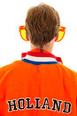 Supporters the back of a supporter of the dutch soccer team Royalty Free Stock Photography