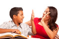 Supportive Hispanic Mother and Son Studying Royalty Free Stock Photo