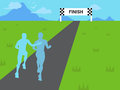 Supportive runner cheering sports background illustration a giving support to a fellow participant in a marathon race event Stock Image