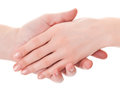 Supports the man s hand a gentle woman s hand Royalty Free Stock Image