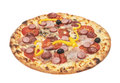 The supreme pizza with sausages Royalty Free Stock Photo