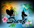 Surf background surfing word with surfboard and palm tree Stock Images