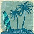 Surf a blue table with some palms near it Royalty Free Stock Photos