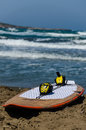 Surf board at panormitis in rhodes Royalty Free Stock Image