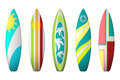 Surf boards designs. Vector surfboard coloring set Royalty Free Stock Photo