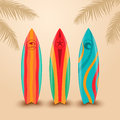 Surf boards with different design. Vector illustration Royalty Free Stock Photo