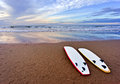 Surf boards lying on beach Royalty Free Stock Photo
