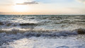 Surf at Dead Sea in winter evening Royalty Free Stock Photo