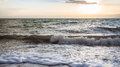 Surf at Dead Sea in winter twilight Royalty Free Stock Photo