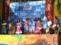 Surf podium of a heat of the rip curl competition on reunion island Stock Photo
