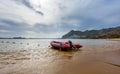 Surf Rescue boat at coast of Teresitas beach on Tenerife island, Spain Royalty Free Stock Photo