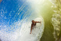 Surf Rider Inside Hollow Wave Royalty Free Stock Photography