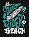 Surf rider print. t-shirt graphic design