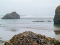 Surf rolling in on a rocky beach the the oregon coast usa Royalty Free Stock Photo