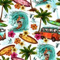 Surf seamless pattern with sketch surfer and tropical beach elements vector illustration Stock Photos