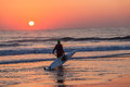 Surf ski canoe paddler sunrise entering ocean male the waters with his as the sun rises for a dawn patrol training morning at Stock Image