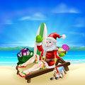 Surf summer santa christmas illustration relaxing in on the beach with a board bag of gifts and other holiday items ans a tropical Stock Photos