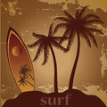 Surf a surfboard with some palms and text near it Royalty Free Stock Image