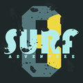 Surf. T-shirt graphics. Vintage typography, t-shirt graphics, poster, banner, textile, apparel