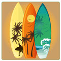Surf three different surfboards with different textures and patterns Stock Photography