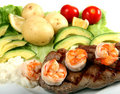 Surf and turf horizontal closeup Stock Photos