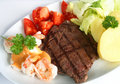 Surf and turf meal Royalty Free Stock Photo