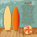 Surf two colored tables with some text and a beach ball Royalty Free Stock Images