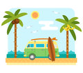 Surf van on beach Royalty Free Stock Photo