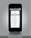 Surface adjacente de menu principal pour le $$etAPP mobile Images libres de droits