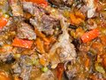 Surface of cooked pottage from lamb and vegetables