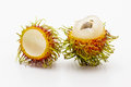 Surface layers of rambutan on white background Stock Images